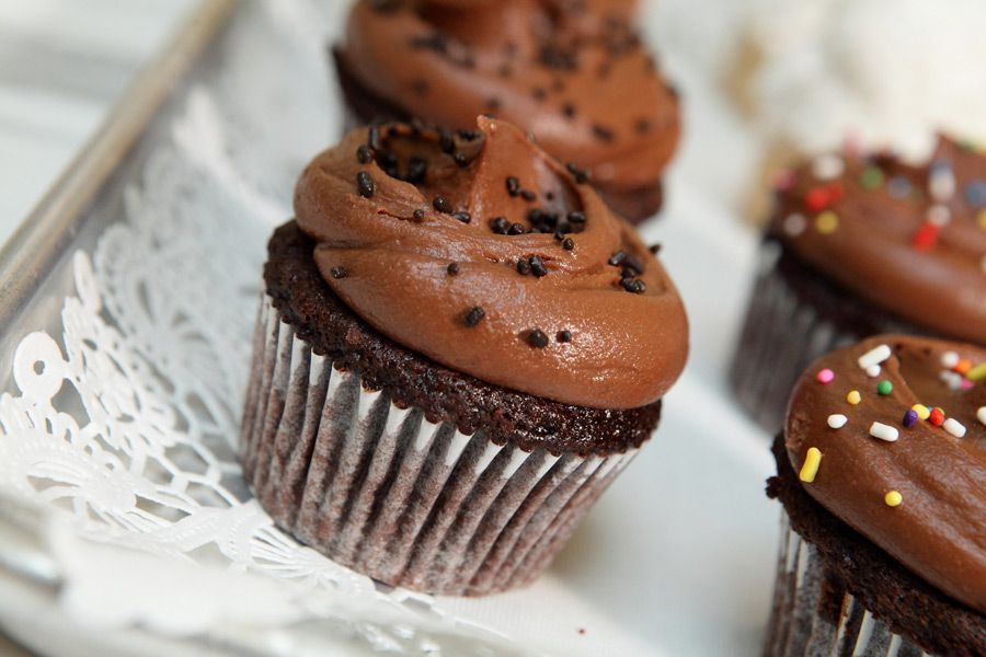 Chocolate cupcakes with chocolate buttercream at Magnolia Bakery