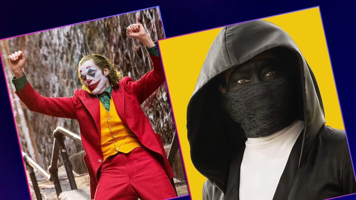 Graphic illustration featuring stills from the film The Joker on the left and a still from the HBO series Watchmen on the right