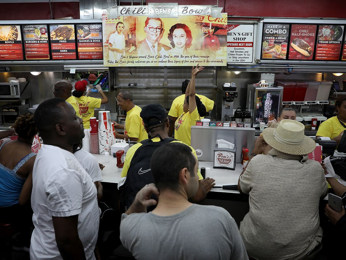 The crowded counter at Ben's Chili Bowl