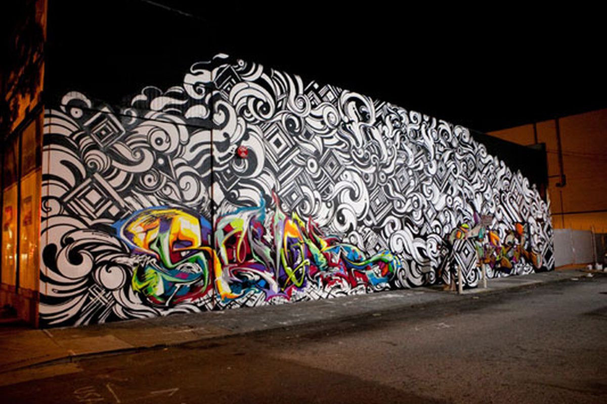 """A Revok, Reyes, and Steel mural located on Mission between 9th and 10th. Photo via <a href=""""http://www.juxtapoz.com/graffiti/revok-x-reyes-x-steel"""">Juxtapoz</a>."""