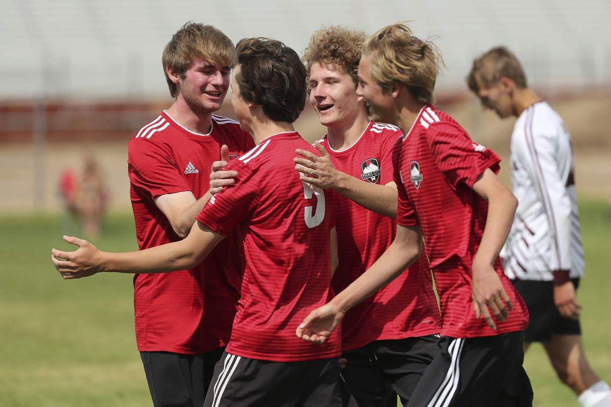 Park City's Connor Campbell (5) celebrates his goal against Morgan in the Graduation Cup championship match in Farmington on Saturday, June 13, 2020.