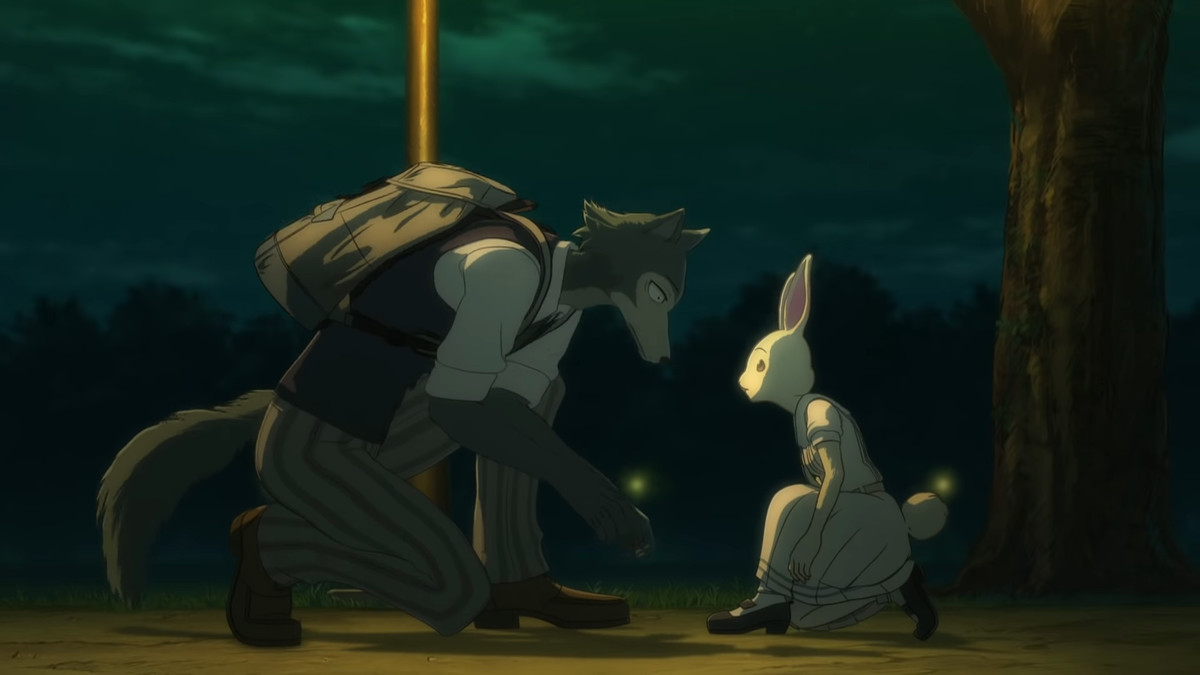 A anthropomorphic gray wolf leans down to help a small anthropomorphic white rabbit