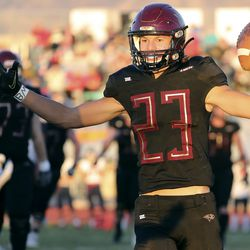 Maple Mountain's Jonathan Kearl celebrates scoring a touchdown in the second round of the 5A football playoffs against Springville at Maple Mountain High School in Spanish Fork on Friday, Oct. 30, 2020. Maple Mountain won 27-21.