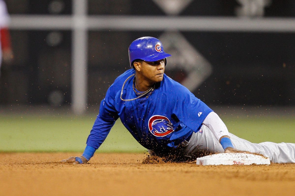 Starlin Castro of the Chicago Cubs arrives safely at second after stealing a base against the Philadelphia Phillies at Citizens Bank Park in Philadelphia, Pennsylvania. (Photo by Brian Garfinkel/Getty Images)