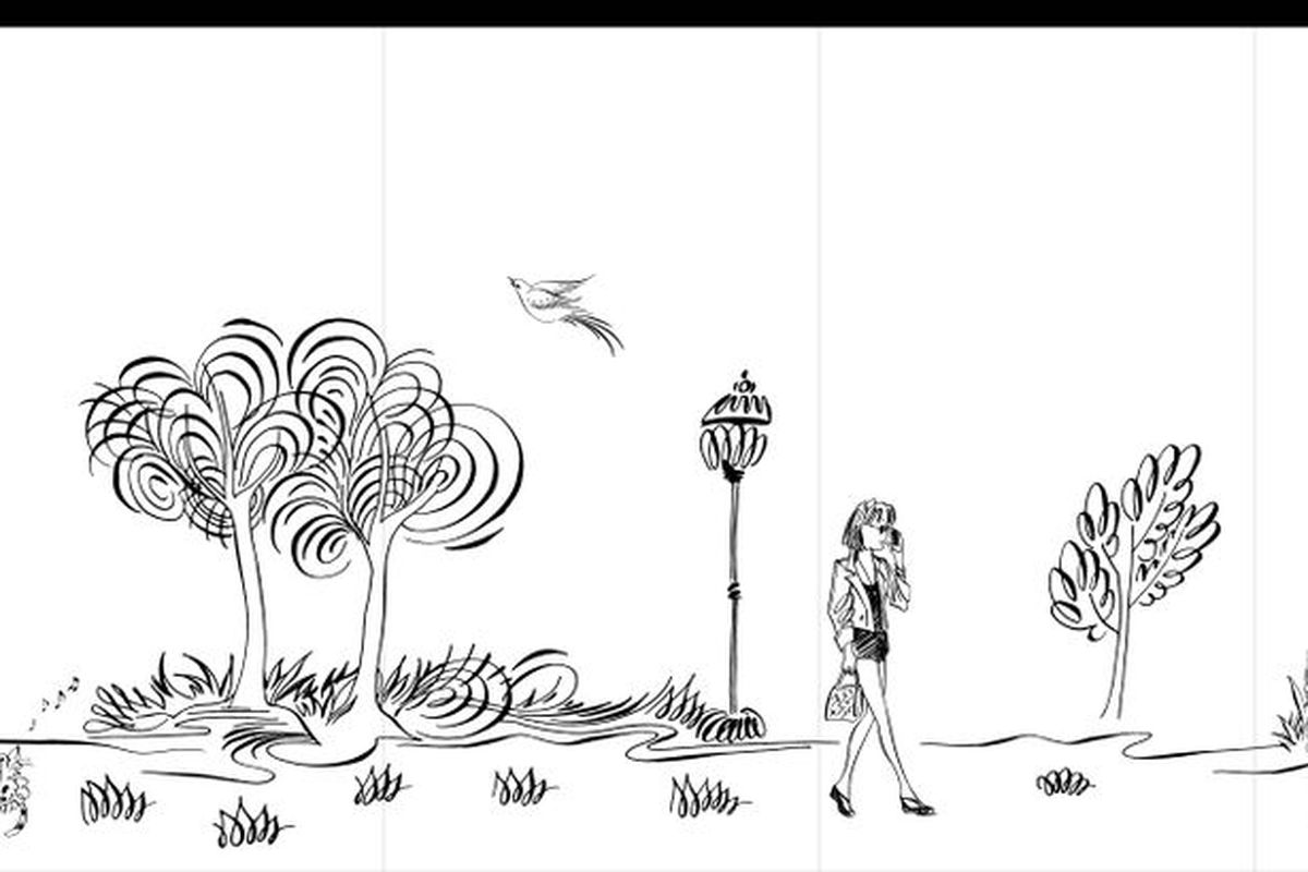 A hand drawn black and white sketch of a serene scene with trees, people, and birds.