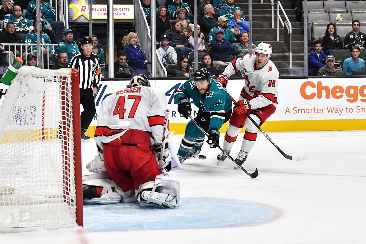 Barclay Goodrow #23 of the San Jose Sharks takes a shot on goal against James Reimer #47 of the Carolina Hurricanes at SAP Center on October 16, 2019 in San Jose, California.