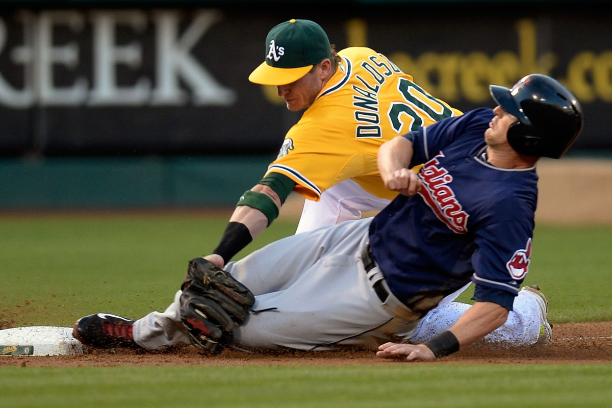 Josh Donaldson applies the tag on Drew Stubbs, after not needing to move his glove to receive the throw on a line from Josh Reddick in medium-deep right field.