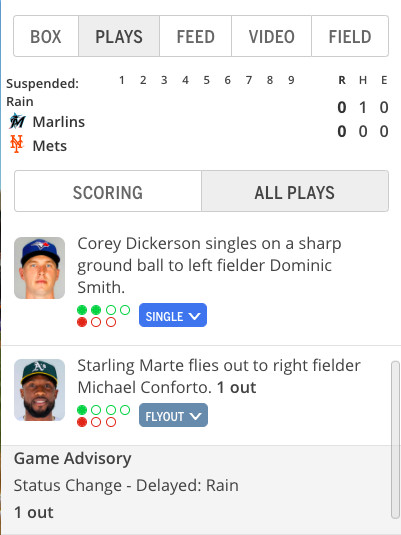 Screenshot of MLB Gameday showing where the Marlins will pick up the suspended game. Corey Dickerson hit a leadoff single, Starling Marte flied out, Jesús Aguilar has a 2-0 count.