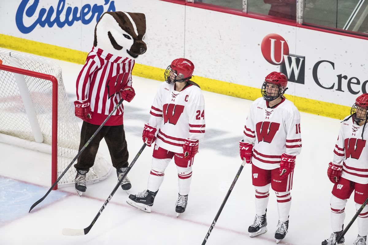 Bucky Badger and Badger womens hockey players before the game lining up for introductions.