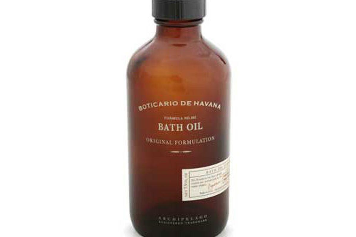 """<a href=""""http://www.archipelago-usa.com/ProductDetail.aspx?ProductName=Boticario%20de%20Havana%20Bath%20Oil"""">Boticario de Havana Bath Oil</a>, $24 at Archipelago"""