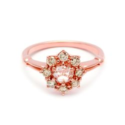 Petite Celestine Ring with champagne diamonds in 14k rose gold