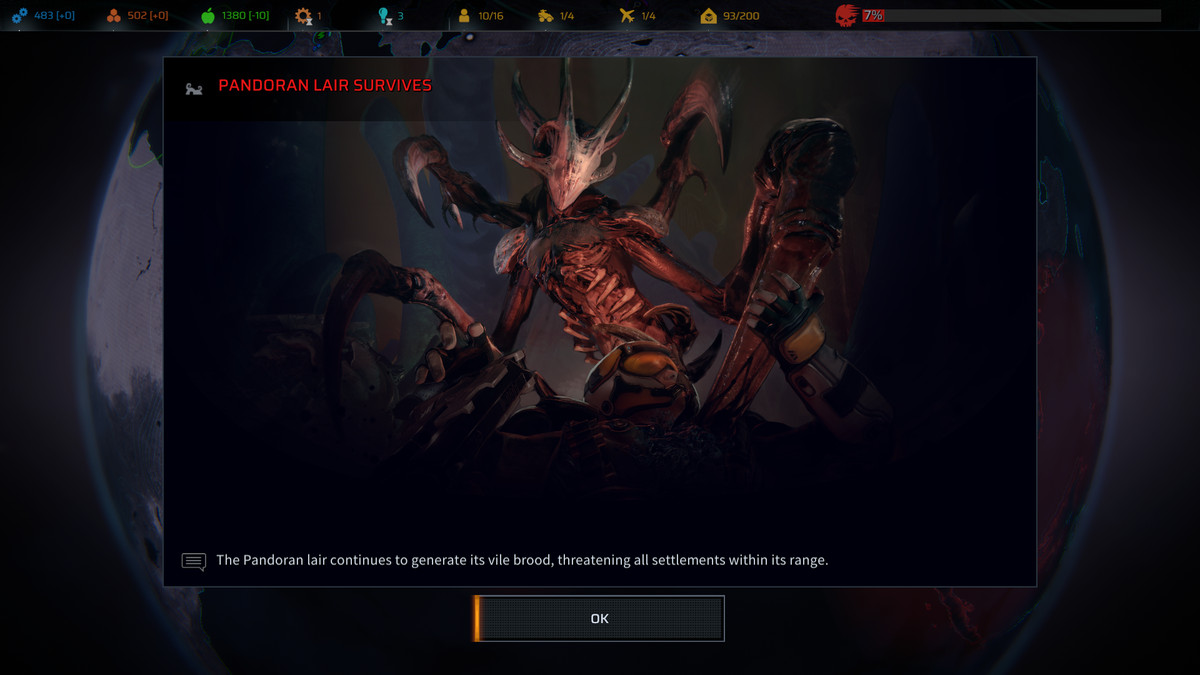 The end screen of a Pandoran Lair assault mission shows a boss enemy attacking a Phoenix Point soldier.