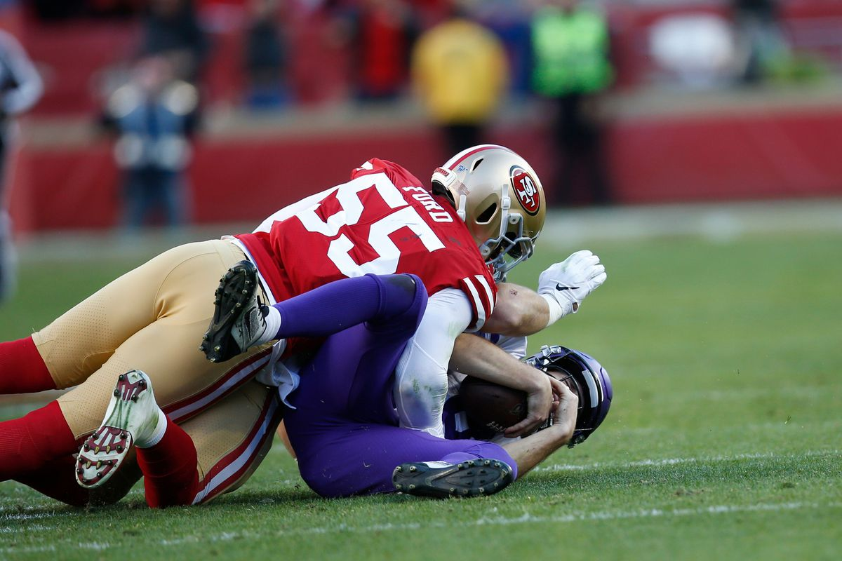 Dee Ford and Nick Bosa of the San Francisco 49ers sack Kirk Cousins of the Minnesota Vikings during the game at Levi's Stadium on January 11, 2020 in Santa Clara, California.