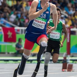Hunter Woodhall USA wins the bronze medal in the Men's 400m - T44 Final at the Olympic Stadium in the Paralympic Games, Rio de Janeiro, Brazil, on Sept. 15.