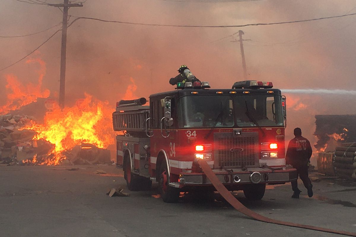 Crews battled an extra alarm fire March 30, 2021 at a Brighton Park paper plant.