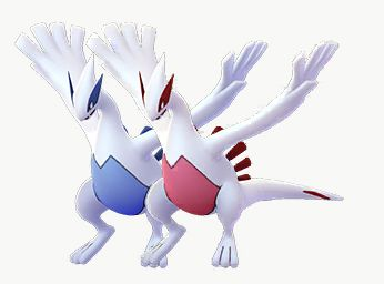 Shiny Lugia with its normal form