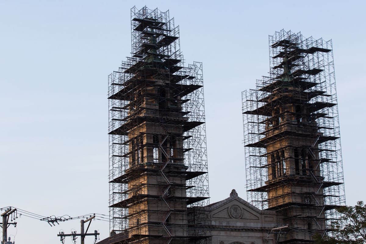St. Adalbert Church in Pilsen. The church's iconic towers have been caged in scaffolding for years.