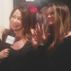 Live streaming backstage at the Honor show. Here I am with my beautiful niece showing all of the fashion addicts at home a preview of the nail look before it hit the runway.