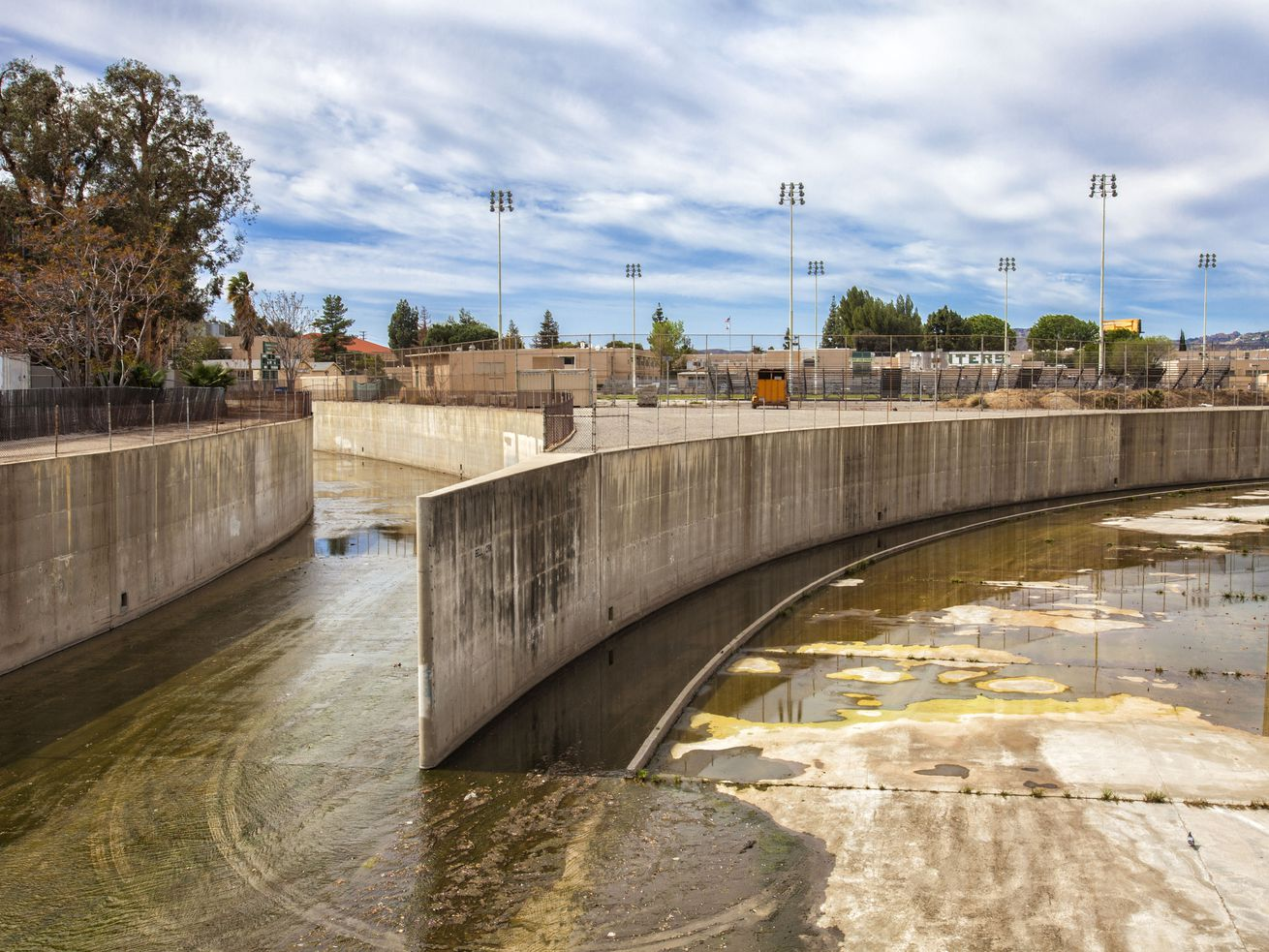 The beginning of the Los Angeles River at the confluence of Bell Creek and Arroyo Calabasas in Canoga Park.