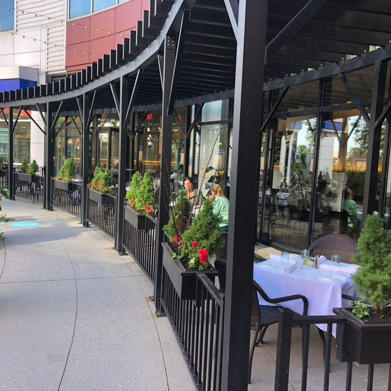 Dine beneath a pergola at Pacino's in the South Loop.