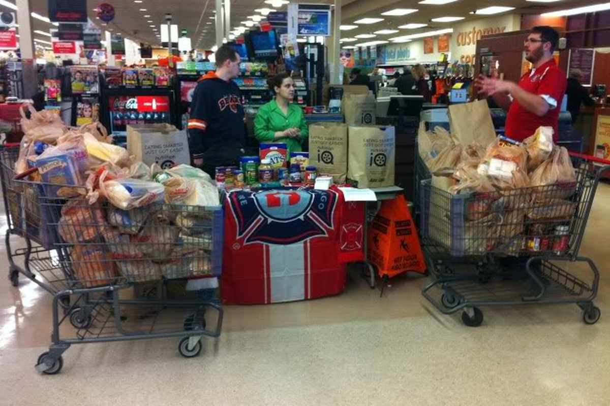 Section 8 food drive in action.