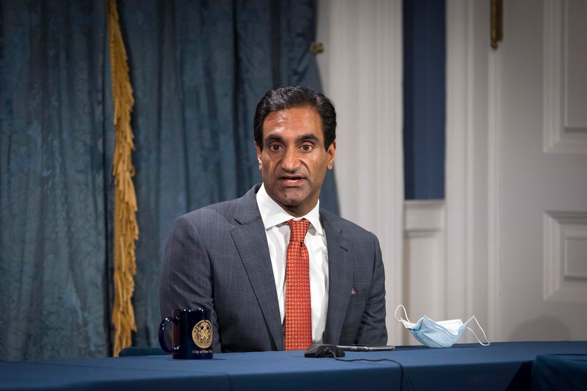 Public Health Advisor Dr. Jay Varma speaks at a City Hall press conference on the coronavirus, Oct. 4, 2020.