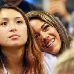 Bailey Choy and Torre Glasker watch as the University of Utah women's volleyball team learns that they will host Cleveland State in the NCAA tournament on Sunday, Nov. 26, 2017.