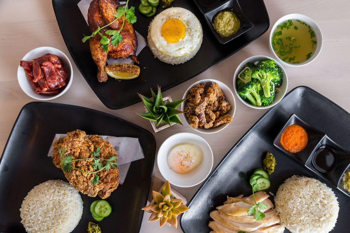Hainanese chicken rice at Flock & Fowl