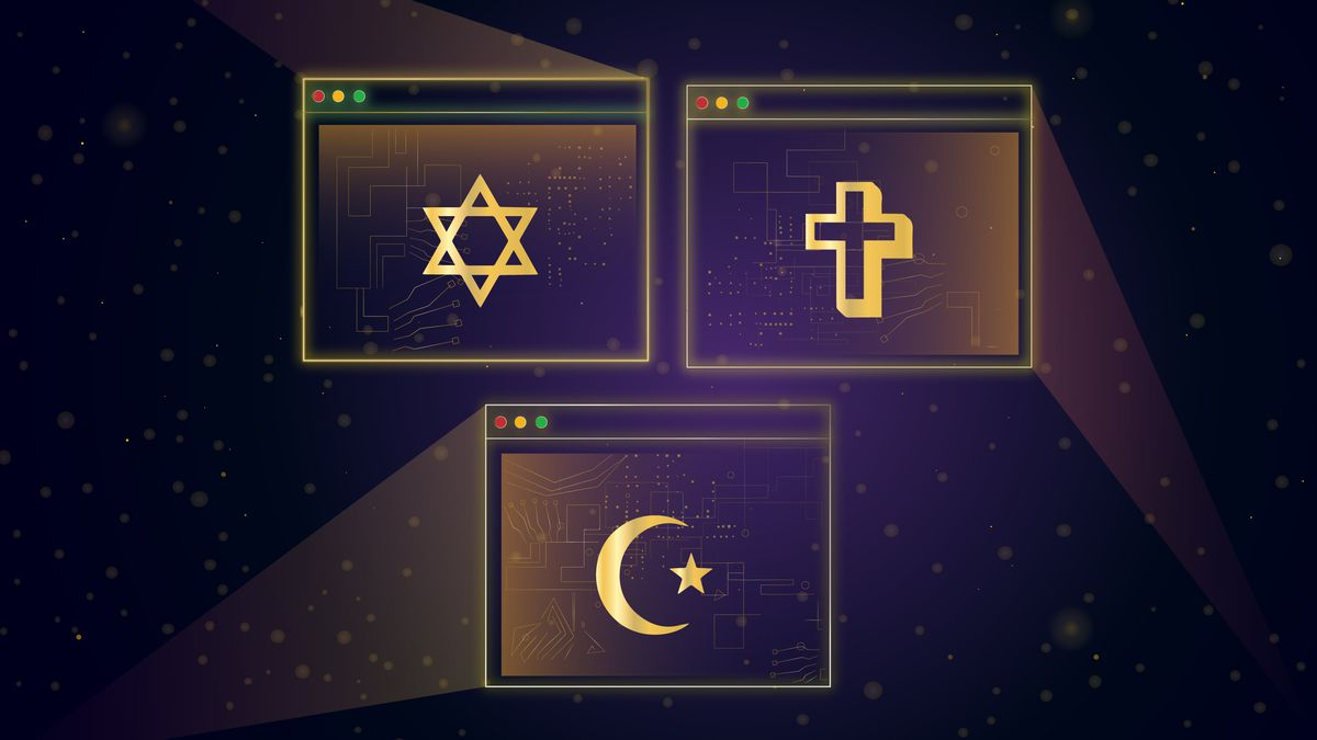 Illustration of various religious symbols inside Zoom meeting screens.