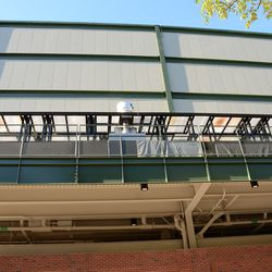11:05 a.m. Note the stains at the top of the shelter, along the back of the bleachers. This is the area where the food is now cooked, for guests in the right field bleacher patio. This is the area just underneath the right field video board -