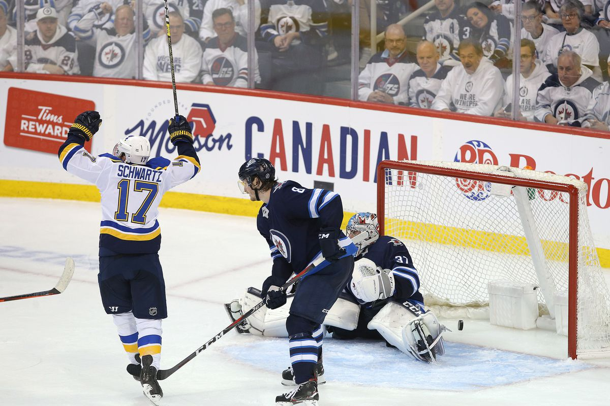 WINNIPEG, MANITOBA - APRIL 18: Jaden Schwartz #17 of the St. Louis Blues celebrates his game-winning goal against the Winnipeg Jets in Game Five of the Western Conference First Round during the 2019 NHL Stanley Cup Playoffs at Bell MTS Place on April 18,
