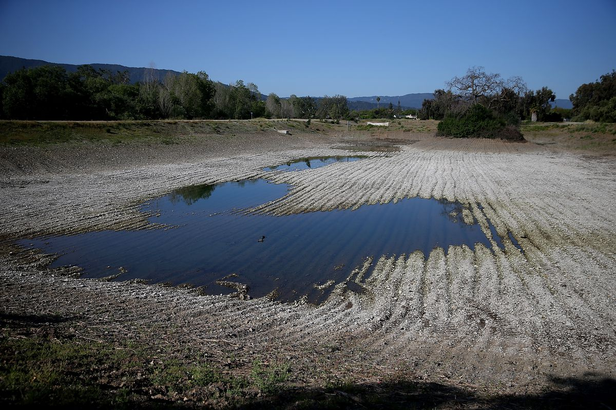 Low water levels are visible at the Los Capitancillos Recharge Ponds on April 3, 2015 in San Jose, California. (Justin Sullivan/Getty Images)