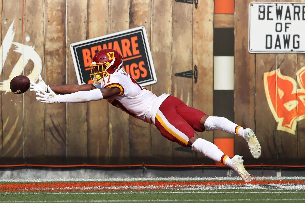 Terry McLaurin #17 of the Washington Football Team tries to make a diving catch while playing the Cleveland Browns at FirstEnergy Stadium on September 27, 2020 in Cleveland, Ohio. Cleveland won the game 34-20.