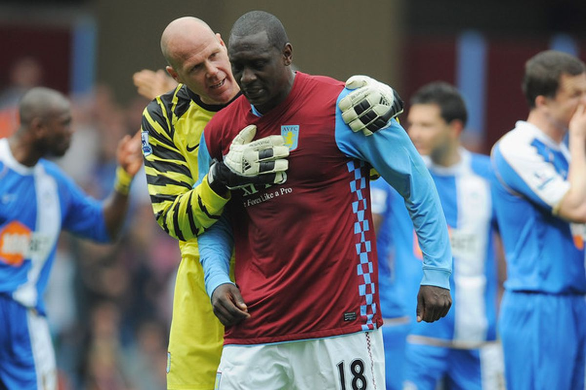 Brad Friedel attempts to calm down Emile Heskey in a Villa contest from 2011.