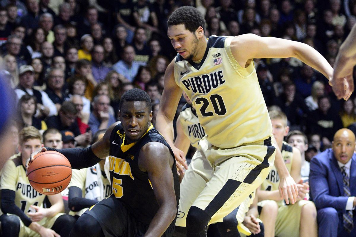 Iowa's Anthony Clemmons and Purdue's A.J. Hammons