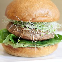 The Greenbird, turkey patty, crushed avocado, green cheese, butter lettuce, sprouts, green goddess dressing
