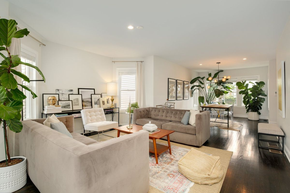 Two beige suede couches sit facing each other with a small wooden coffee table between. Against a wall there's a console table with stacked books and layered framed photos. Two giant potted plants sit near the dining room table.