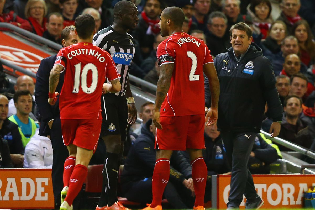 Newcastle United manager John Carver (far right) watches as Sissoko squares up to Johnson. He was soon sent off for a second yellow card. The Sir Bobby Robson protege loves the club, but it is clear he is not the man for the job.