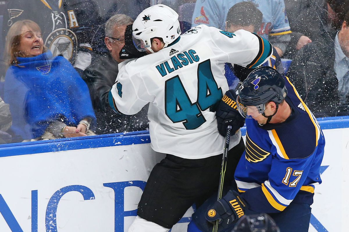 Mar 27, 2018; St. Louis, MO, USA; San Jose Sharks defenseman Marc-Edouard Vlasic (44) is checked into the boards by St. Louis Blues left wing Jaden Schwartz (17) during the third period at Scottrade Center. The Blues won 3-2 in overtime