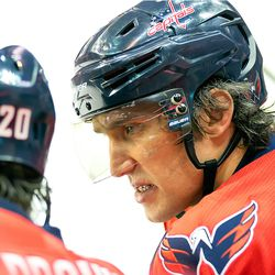 Ovechkin Talks to Brouwer