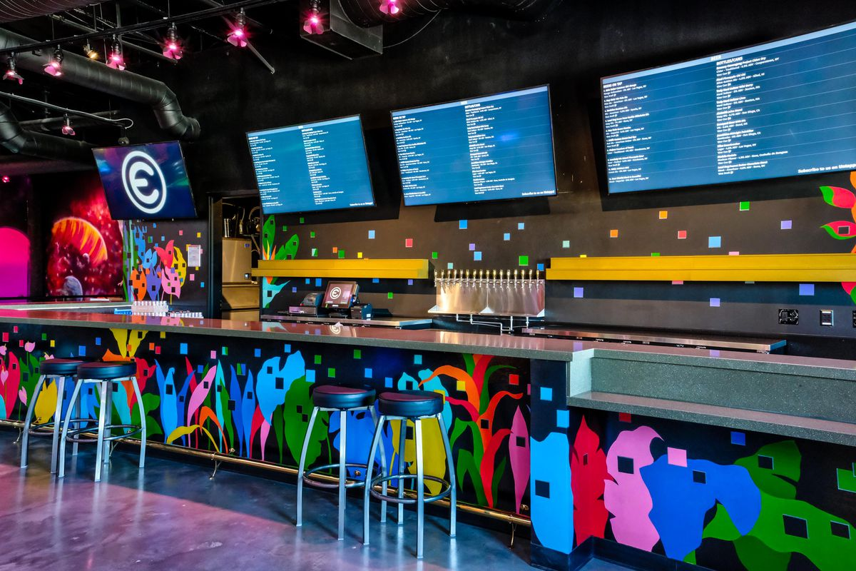 A graffiti filled bar
