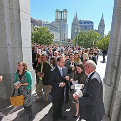 Crowds line up for the afternoon session of the 183rd Semiannual  General Conference of the Church of Jesus Christ of Latter-day Saints Sunday, Oct. 6, 2013, in Salt Lake City.