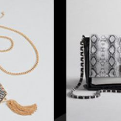 """From left: 30"""" chain necklace with hexagon stone pendant, $15.99 (orig. $24); Animal print chain shoulder bag, $57.99 (orig. $84)"""