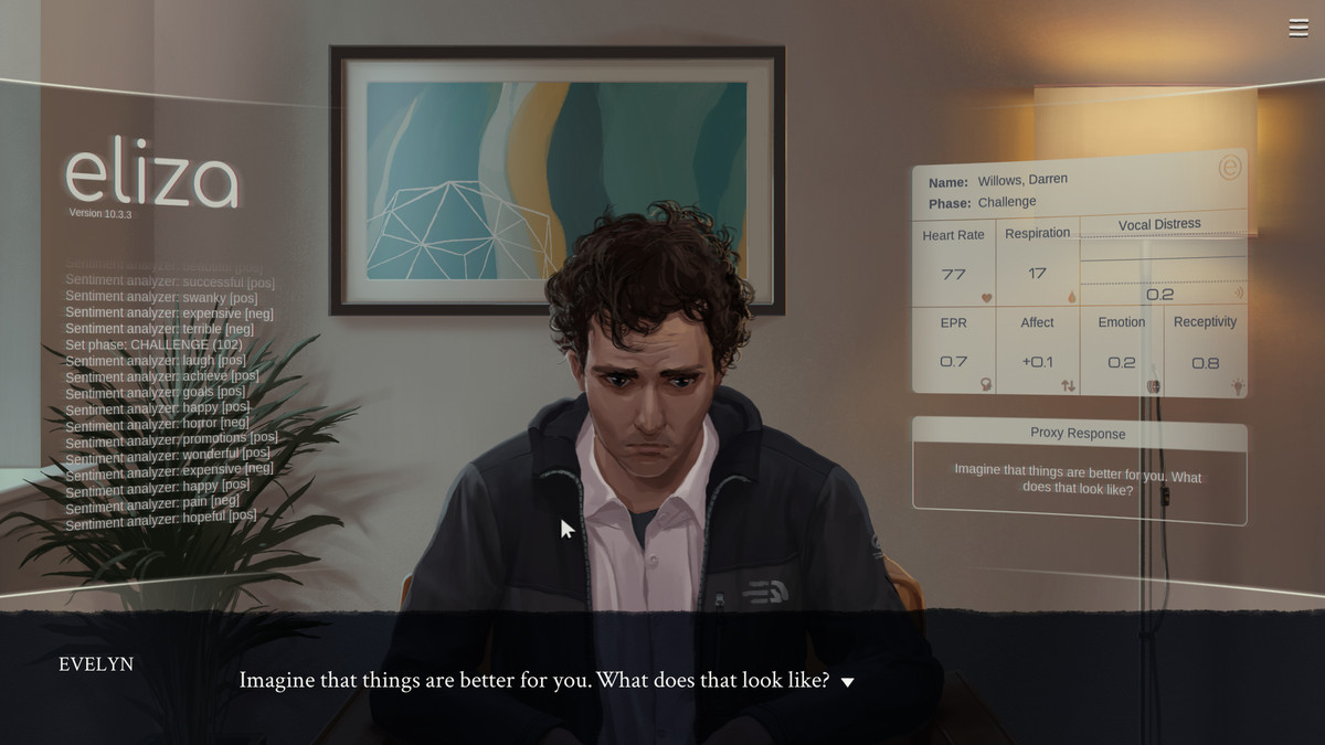 A sad, young man in a grey jacket surrounded by a digital overlay of text and information on his vitals.