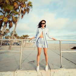 """Rumi of <a href=""""http://www.fashiontoast.com""""target=""""_blank"""">Fashion Toast</a> is wearing an Alexander Wang set and Ray-Ban sunglasses."""