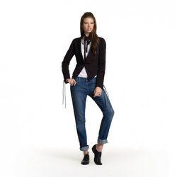 Plain Tee in White, $19.99 Tuxedo Blazer in Black, $49.99 Skinny Jeans in Medium Wash, $49.99<br />