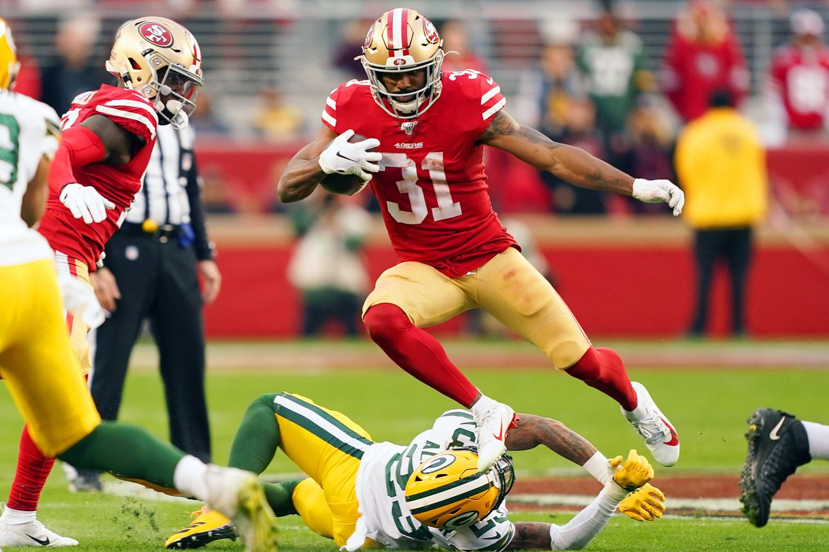 Raheem Mostert #31 of the San Francisco 49ers carries the ball against the Green Bay Packers in the second quarter during the NFC Championship game at Levi's Stadium on January 19, 2020 in Santa Clara, California.