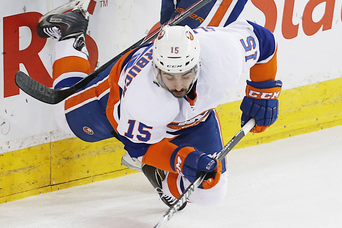 Not pictured: Sam Gagner wondering how Cal Clutterbuck learned how to levitate