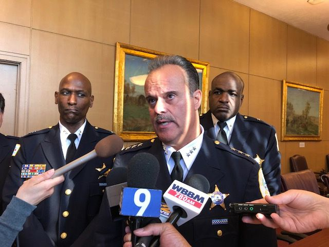 First Deputy Police Supt. Anthony Riccio appeals to Rev. Michael Pfleger to no avail on Thursday to move his July 7 peace march off the Dan Ryan Expressway and into Chicago neighborhoods. | Fran Spielman / Sun-Times