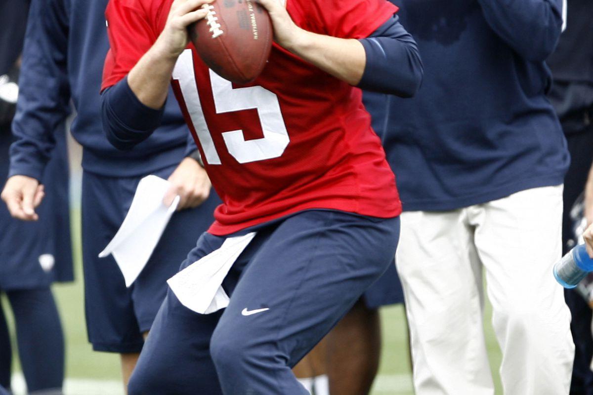Jul 28, 2012; Renton, WA, USA; NFL: Seattle Seahawks quarterback Matt Flynn (15) looks to pass during a training camp scrimmage at the Virginia Mason Athletic Center. Mandatory Credit: Joe Nicholson-US PRESSWIRE